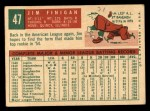 1959 Topps #47  Jim Finigan  Back Thumbnail