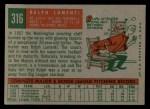 1959 Topps #316 *xOPT* Ralph Lumenti  Back Thumbnail