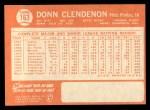 1964 Topps #163   Donn Clendenon Back Thumbnail