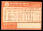 1964 Topps #251  Choo Choo Coleman  Back Thumbnail