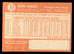 1964 Topps #254  Don Hoak  Back Thumbnail