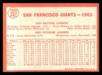 1964 #257   Giants Team Back Thumbnail
