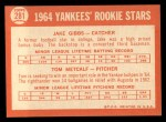 1964 Topps #281  Yankees Rookies  -  Jake Gibbs / Tom Metcalf Back Thumbnail