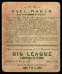 1933 Goudey #25  Paul Waner  Back Thumbnail