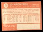 1964 Topps #296   Ed Kirkpatrick Back Thumbnail