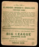 1933 Goudey #135  Woody English  Back Thumbnail