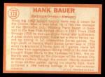 1964 Topps #178  Hank Bauer  Back Thumbnail