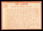 1964 Topps #348   Eddie Lopat Back Thumbnail