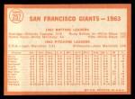 1964 Topps #257   Giants Team Back Thumbnail