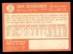 1964 Topps #351  Dan Schneider  Back Thumbnail