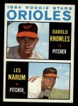 1964 Topps #418   Orioles Rookie Stars  -  Darold Knowles / Les Narum Front Thumbnail
