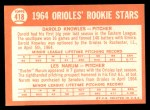 1964 Topps #418   Orioles Rookie Stars  -  Darold Knowles / Les Narum Back Thumbnail