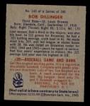 1949 Bowman #143 PRT  Bob Dillinger Back Thumbnail