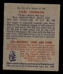 1949 Bowman #231  Earl Johnson  Back Thumbnail