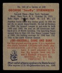 1949 Bowman #165  Snuffy Stirnweiss  Back Thumbnail