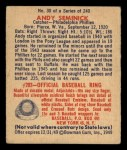 1949 Bowman #30  Andy Seminick  Back Thumbnail