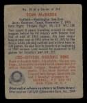 1949 Bowman #74  Tom McBride  Back Thumbnail
