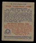 1949 Bowman #92   Willie Jones Back Thumbnail