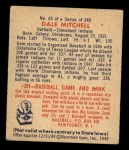 1949 Bowman #43   Dale Mitchell Back Thumbnail