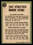 1967 Topps #33   Athletics Rookie Stars  -  Sal Bando / Randy Schwartz Back Thumbnail