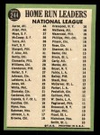1967 Topps #244  NL HR Leaders  -  Hank Aaron / Rich Allen / Willie Mays Back Thumbnail