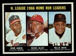 1967 Topps #244  NL HR Leaders  -  Hank Aaron / Rich Allen / Willie Mays Front Thumbnail
