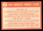 1964 Topps #14   Dodgers Rookie Stars  -  Dick Nen / Nick Willhite Back Thumbnail