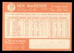 1964 Topps #297   Ken MacKenzie Back Thumbnail