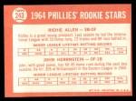 1964 Topps #243   Phillies Rookie Stars  -  Dick Allen / John Herrnstein Back Thumbnail