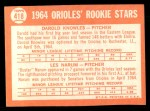 1964 Topps #418  Orioles Rookies  -  Darold Knowles / Les Narum Back Thumbnail
