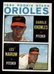 1964 Topps #418  Orioles Rookies  -  Darold Knowles / Les Narum Front Thumbnail