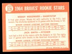 1964 Topps #378   Braves Rookie Stars  -  Woody Woodward / Jack Smith Back Thumbnail