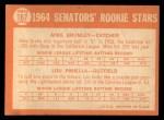 1964 Topps #167   Senators Rookie Stars  -  Lou Piniella / Mike Brumley Back Thumbnail