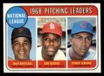 1969 Topps #10  NL Pitching Leaders  -  Juan Marichal / Bob Gibson / Fergie Jenkins Front Thumbnail