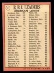 1969 Topps #3  1968 AL RBI Leaders    -  Ken Harrelson / Frank Howard / Jim Northrup Back Thumbnail