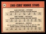 1969 Topps #602 COR Cubs Rookies  -  Alec Distaso / Don Young / Jim Qualls Back Thumbnail