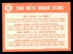 1964 Topps #398   -  Bill Haas / Dick Smith Mets Rookies Back Thumbnail