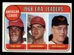 1969 Topps #7  AL ERA Leaders  -  Luis Tiant / Sam McDowell / Dave McNally Front Thumbnail