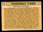1963 Topps #68   -  Duke Snider / Gil Hodges Friendly Foes Back Thumbnail