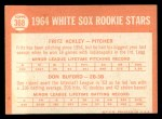 1964 Topps #368   White Sox Rookie Stars  -  Fritz Ackley / Don Buford Back Thumbnail