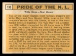 1963 Topps #138  Pride of NL    -  Willie Mays / Stan Musial Back Thumbnail
