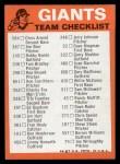 1973 Topps #22  Giants Team Checklist  Back Thumbnail