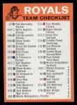 1973 Topps Blue Team Checklists  Kansas City Royals  Back Thumbnail