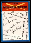 1973 Topps Blue Team Checklists  Milwaukee Brewers  Front Thumbnail