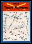 1973 Topps #24  Rangers Team Checklist  Front Thumbnail