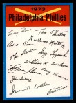 1973 Topps #19  Phillies Team Checklist  Front Thumbnail