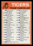 1973 Topps Blue Team Checklists #9   Detroit Tigers Back Thumbnail