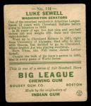 1933 Goudey #114   Luke Sewell Back Thumbnail
