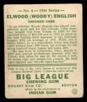 1934 Goudey #4   Elwood English Back Thumbnail