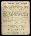 1934 Goudey #33   Don Hurst Back Thumbnail
